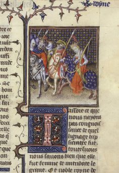 """""""Hypsikrateia accompanying the army"""", from a manuscript of Boccaccio's De mulieribus claris, made in France in the early 15th century"""