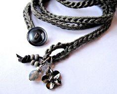 Crochet bracelet with charms, wrap bracelet, charcoal grey, cuff bracelet, bohemian jewelry, crochet jewelry, fiber jewelry, fall fashion