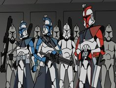 A color version of my B+W drawing of an Arc Trooper squad (from the 2003 Clone Wars animated series) I did in my spare time at school with Photoshop. Color Arc Trooper Line Art Star Wars Meme, Star Wars Baby, Star Wars Clone Wars, The Trooper, Clone Trooper, Storm Troopers, Pokemon, Pikachu, Star Wars Images