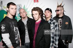 Members of the band 10 Years (L-R) Lewis Cosby, Matt Wantland, Jessie Hasek, Brian Vodinh and Tatter pose for a photo backstage at MTV studios after a taping of MTV2 Presents T-Minus Rock March 24, 2006 in New York City.