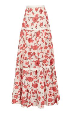Serri Floral-Embroidered Linen Maxi Skirt by ALEXIS Now Available on Moda Operandi Skirt Outfits Modest, Denim Skirt Outfits, Designer Plus Size Clothing, Love Clothing, Cotton Maxi Skirts, Halloween Fashion, Summer Skirts, Classic Outfits, Models