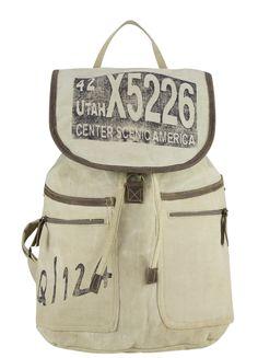Sunsa Damen Herren Vintage Rucksack Packpack Schultertasche Schultasche Schulrucksack Canvastasche Leder Canvas Ledertasche Tasche Segeltuch Retro