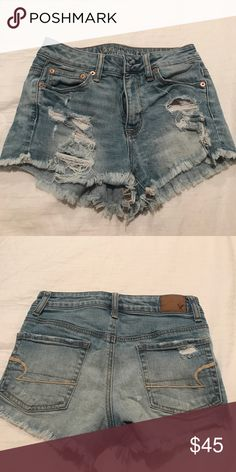 high wasted distressed shorts AE distressed high wasted denim shorts, great for summer ! American Eagle Outfitters Shorts