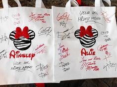 Autographed personalized tote bags - great for the theme parks or cruise line!