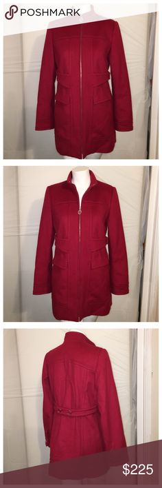 "ELIE TAHARI Lambs Wool & Cashmere Red Zip Up Coat This coat is gorgeous. No, really. ELIE TAHARI Wool & Cashmere Blend Red Zip Up Coat. S/M -- shoulders are 16"" across and 30.5"" long. Elie Tahari Jackets & Coats"