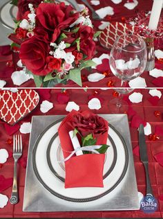 Love is in the air! Dress up your table for a romantic Valentine's Day dinner with this easy place setting!