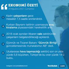 #EkonomininÖzeti 5 başlıkta ekonomi gündeminin özeti #kadın #işdünyası #mesai #KurbanBayramı #tatil #otomobil #GümrükBirliği #AB #Avrupa #havayolu