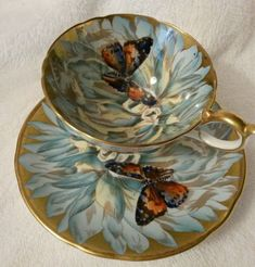 Aynsley England Handpainted Signed Cup and Saucer with Butterfly and Chrysanthemum Tea Cup Set, Tea Cup Saucer, Tea Sets, Vintage China, Vintage Teacups, Antique Tea Cups, Teapots And Cups, China Tea Cups, Hand Painted Signs