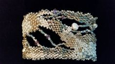 Hand-woven Freshwater Pearl, Silver, White, and Pale Blue Freeform Peyote Bracelet Cuff (Artist: Erin Russell)