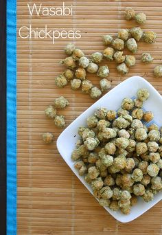 Spicy, salty, and slightly sweet wasabi roasted chickpeas are a greatsnack or salad topper!