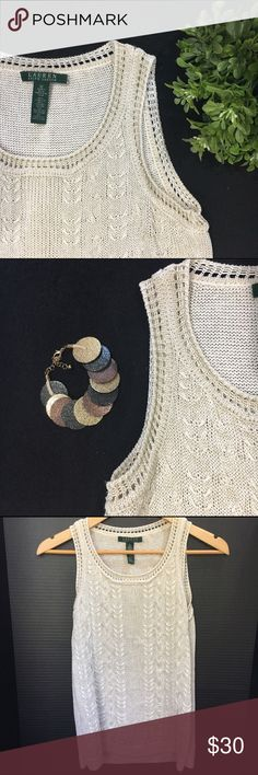 ✨ Ralph Lauren Shimmery Sweater Tank ✨ ✨ Shimmery Cream Color. Nice fabric, soft and comfortable. Only worn once. LIKE NEW. MAKE AN OFFER!!! 🛍 BUNDLE ME!!! 🛍 Lauren Ralph Lauren Tops Tank Tops