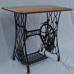 Vintage Singer Sewing Machine Treadle Table with Oak Hardwood Top — Custom Options Available - Handcrafted ideas Singer Table, Singer Sewing Tables, Antique Sewing Machine Table, Antique Sewing Machines, Vintage Sewing Table, Sewing Machines Best, Treadle Sewing Machines, Hardwood, Antiques