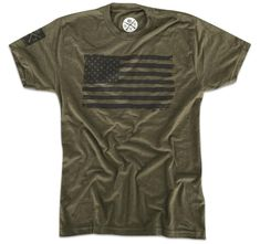 04083626cc9 Men s American Flag Hand Sketched Tri-Blend T-Shirt (Army Green)