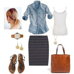 Polyvore - bluehydrangea on Bloglovin Chambray worn with stripe skirt, sandals, tan accessories & white singlet underneath.