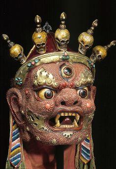 Mask of Begtse; Mongolia; early 20th century; papier-mâché, coral, metal, fabric. Rubin Museum of Art
