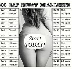 30 Day Squat Challenge Timetable