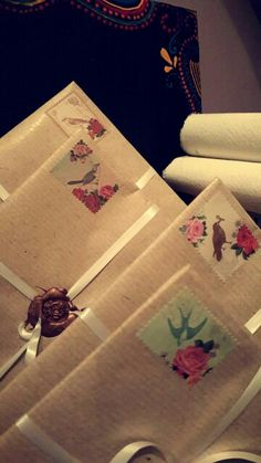 Letters sealed with a wax stamp ready to post