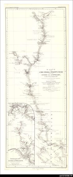 Map of Central Australia showing the route taken by John McDouall Stuart in 1860.