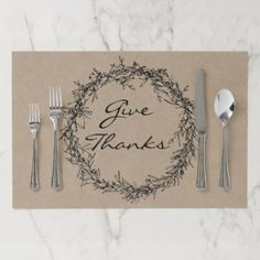 Rustic Kraft Give Thanks Tearaway Placemat - thanksgiving day family holiday decor design idea