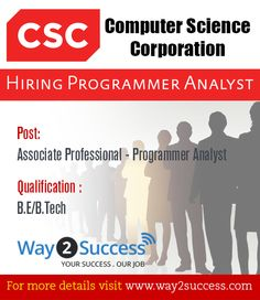 Computer Science Corporation Hiring as Programmer Analyst  :  Apply now, http://www.way2success.com/pages/computer-science-corporation-hiring-as-programmer-analyst.html