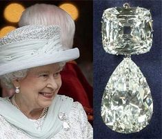 Cullinan IV, a ct Asscher-cut diamond cut from the famous Cullinan diamond - the largest uncut gem-quality diamond ever found - sits at the top of a royal brooch, which was worn by Queen Mary before being passed down to Queen Elizabeth, pictured. Royal Crown Jewels, Royal Crowns, Royal Tiaras, Royal Jewelry, British Crown Jewels, Asscher Cut Diamond, Diamond Cuts, Queen 90th Birthday, Queens Jewels