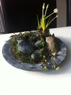 Betonlook: oud bord en vogelbeeldje ingesmeerd met muurvuller, geverfd, dan opmaken met mos, schors, klimop, bloesemtakjes, wittedruifjes en vetplantjes! En een paar eitjes!!