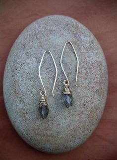 Labradorite Earrings Small delicate silver wire wrapped dangles Wire Jewelry earthy dainty bridal earrings