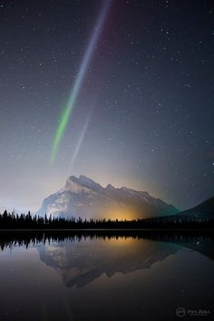 An unusual bicoloured aurora structure at Vermilion Lakes, Banff National Park. Photo by Paul Zizka Photography.   12 Remarkable Canadian Rockies Photographs