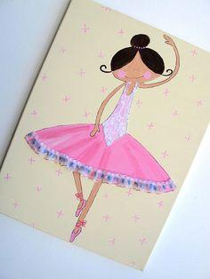 Kids wall art- pink and ballerina canvas painting for girls room, children decor,children art, children decor