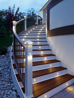 This may work for stairs on garage-Energy efficient LED stair lights by Trex Deck Lighting. Looks good and serves a great purpose. Led lighting is bright and uses much less energy then the regular lights people are used to.