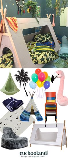 Inspired by the winning room set from this year's Grand Designs Live, 'Where the Wild Things Are', here's how to re-create a tropical, jungle themed kids bedroom, featuring our Teepee Cabin Bed (£395), Flamingo Head (£45) and Palm Tree Wall Stickers (£59). Do you know a wild child who would love this adventurous room?