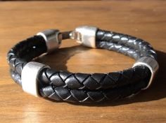 negro de pulseras pulsera de plata de los hombres por kekugi