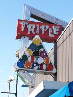 Triple Pool Hall ~ Cool Neon Sign.