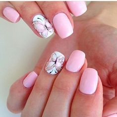 Pink nails and butterfly details - rund ums schminken , Butterfly Nail Designs, Butterfly Nail Art, Colorful Nail Designs, Toe Nail Designs, Hot Nails, Pink Nails, Gel Nail Art, Acrylic Nails, Nail Nail