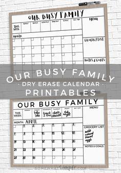 Family Calendar Printable