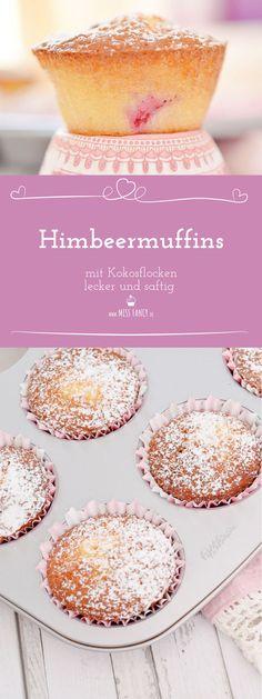 Saftige Muffins mit Himbeeren und Kokosflocken.