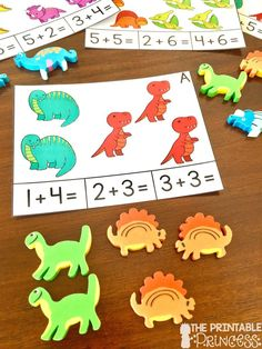 Dinosaur math and literacy centers for Kindergarten. Skills include addition, tally marks, graphing, beginning & ending sounds, vocabulary, and sentence writing.