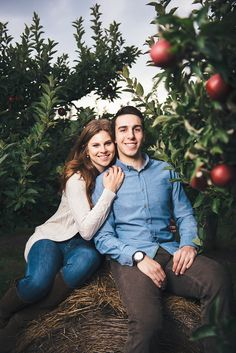 A cute couple pose on a hay bale between two apple trees at Albion Orchards in a romantic engagement photo session by Toronto wedding photographers Julius & James
