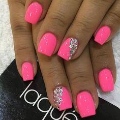 super pretty nail art designs 2016 super pretty nail art designs 2016 – style you 7 - Nail Designs Neon Pink Nails, Neon Nail Polish, Pink Nail Art, Bling Nails, My Nails, Pink Shellac Nails, Bright Pink Nails With Glitter, Bright Gel Nails, Sparkle Gel Nails