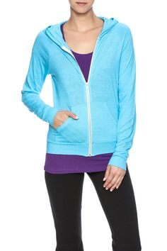 Lightweight, blue, organic cotton hoodie with a zipper front closure and two front pockets.   Eco True Hoodie by Alternative Apparel. Clothing - Sweaters - Sweatshirts & Hoodies Austin, Texas