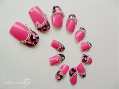 AMAZING ARTISTRY! ~Pink Leopard and Chain 3D Nail Art  pink nail tips by saburkitty, $35.00