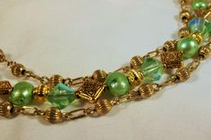 Bracelet Handmade Multistrand Genuine Freshwater Dyed Forest Pale Green Pearls Cut Glass GP Brass Beads Findings by StoneForestJewels on Etsy