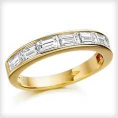 Cotton & Gems 18ct Yellow Gold set Emerald cut Diamond 8 Stone Ring at Cotton & Gems