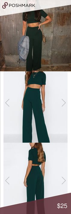 c8c5f2f9fa9 Nasty gal size 4 two piece green set Size 4 co-ord from nasty gal