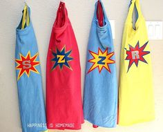 DIY Personalized Superhero Cape from a T-Shirt Superhero Tshirt, Superhero Capes, Superhero Birthday Party, Birthday Parties, Fourth Birthday, Boy Birthday, Movie Crafts, Craft Activities For Kids, Craft Ideas