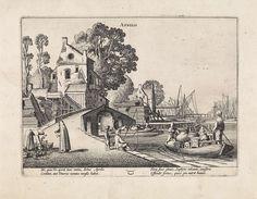 Jan van de Velde (II) | Dorpsgezicht met bedrijvigheid op het water: april, Jan van de Velde (II), 1608 - 1618 | Gezicht op een dorp met een stenen brug, waar op de kade en op het water veel bedrijvigheid is, voorstellende de maand april. Links een vrouw bij een bloemenverkoper, op de kade een visser en op het water een roeiboot met een echtpaar en veel huisraad. Onderaan het astrologische symbool van het sterrenbeeld stier. Prent uit een serie van twaalf.