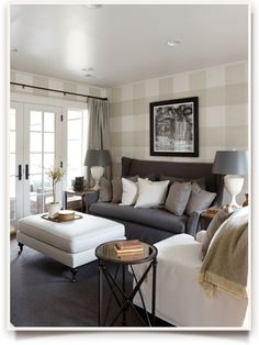 Southern Living Idea House 2012 | Ballard Designs Style Studio-sitting/family room.  Love the gray settee, pillows and checked wall