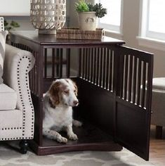 Stylish Pet Crate End Table that will compliment any style of home furnishings. This Wood Indoor Furniture is a space saver, End Table plus Dog Cage Kennel. Well ventilated for pet comfort. Constructed of 100% wood, no flimsy particle board here. A comfortable place where your pet can rest. Two color choices and sizes, dark brown or black, medium or large. The Cat would enjoy it also. Easy to assemble with provided tool.