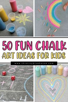 Get the kids to enjoy some fun outdoor play with these 50 fun chalk art ideas for kids. Cute, fun and easy to do these sidewalk chalk art ideas are a great way to encourage young kids to explore their creativity. Chalk Pictures, Sidewalk Chalk Art, Christmas Tree Cards, Chalk Drawings, Chalkboard Art, Summer Diy, Street Artists, Drawing For Kids, Preschool Activities