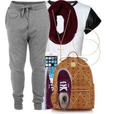 Black/White T-Shirt, Gray Sweatpants, Gold Cross Necklace, Gold Bracelets, MCM Bag, Burgundy Scarf/Vans, Iphone